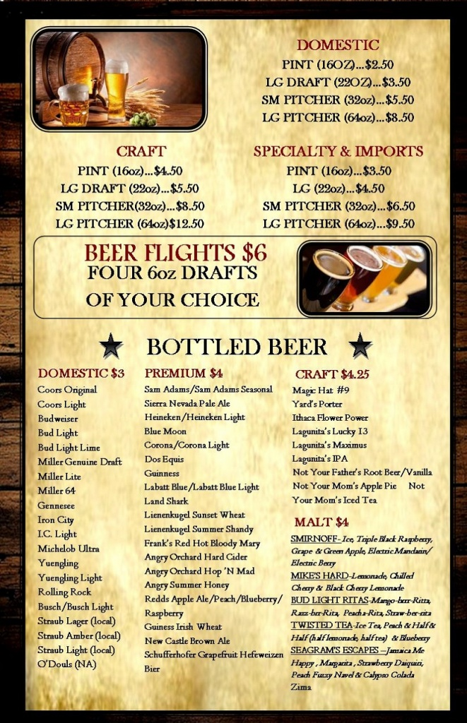 BEER MENU JUNE 23 bottles
