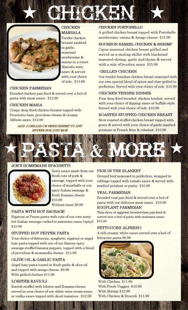 menu chic pasta