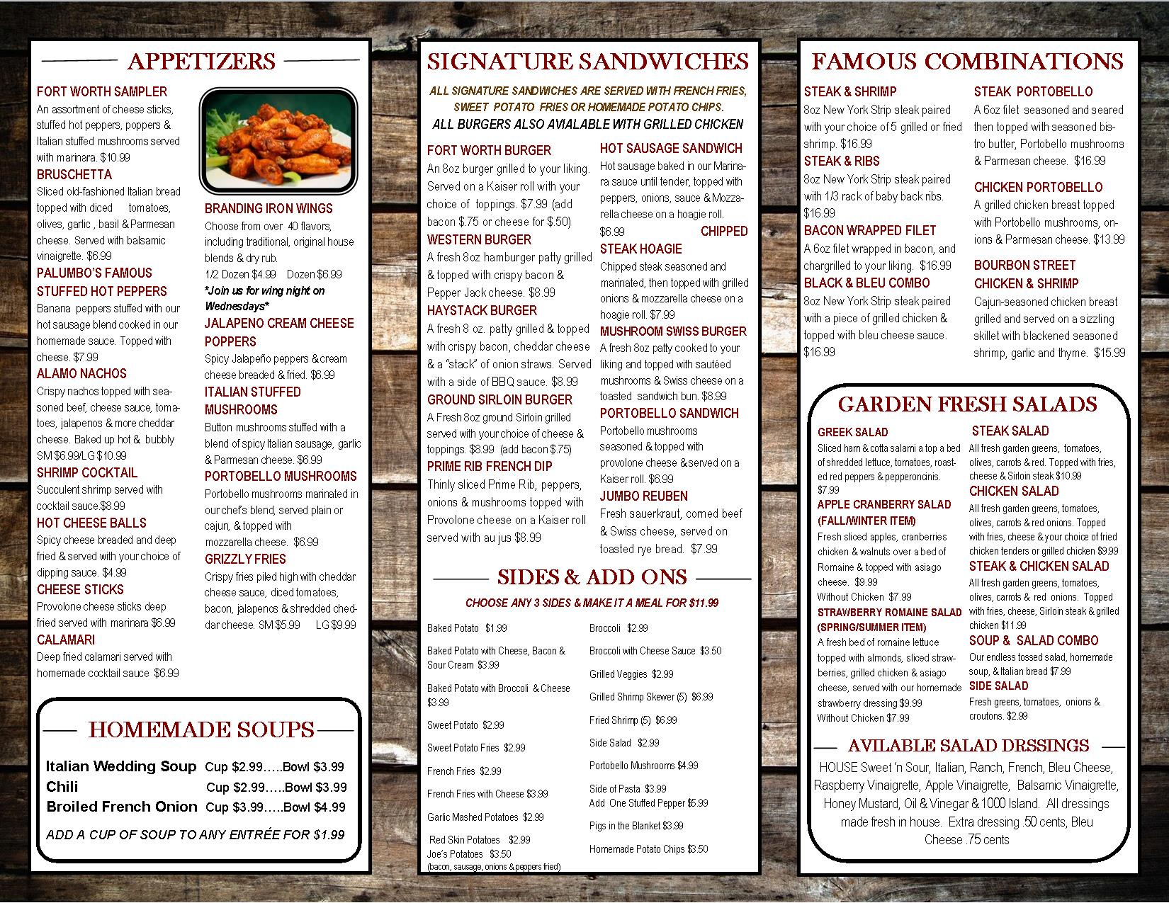 graphic relating to Printable Menus named choose out menu 2017 pg1
